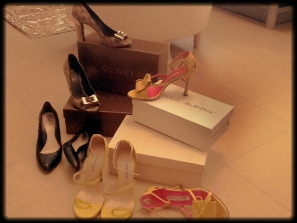 "My ""Trophy"" Shoes! Young but will definitely grow lol 2 Gucci, a Manolo Blahnik, and Choos"